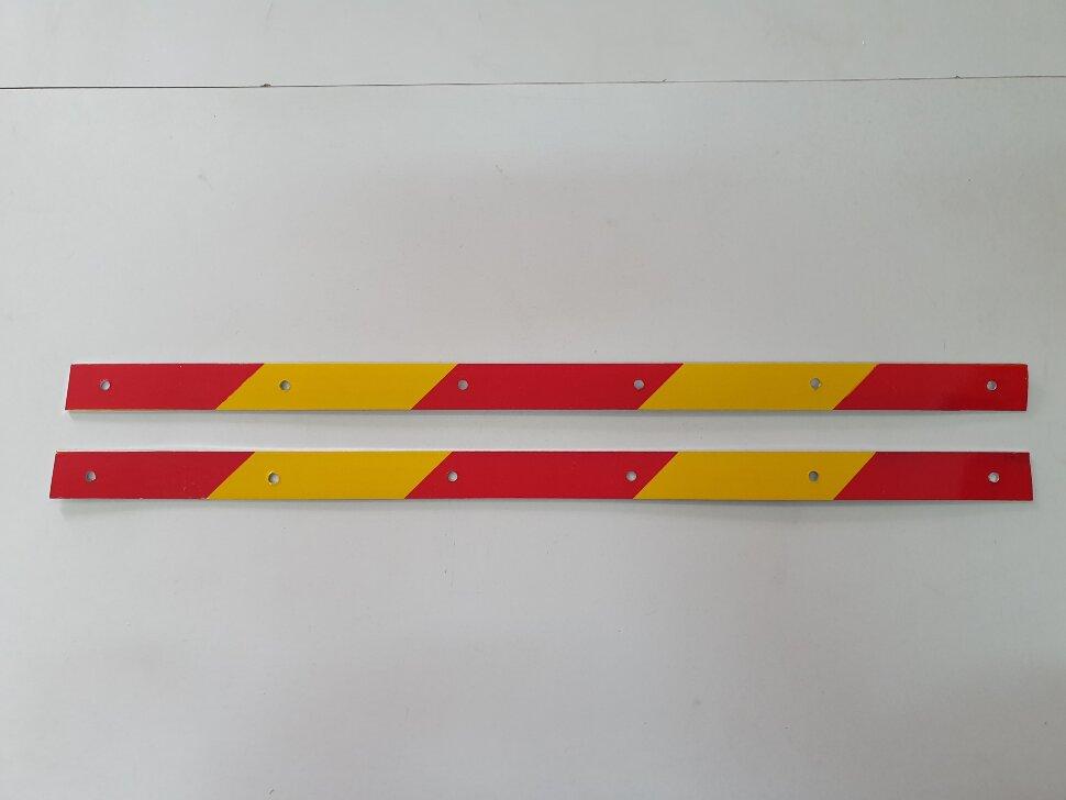 Планка для крепления брызговика светоотражающая 580x30 комплект 2шт. желтая полоска