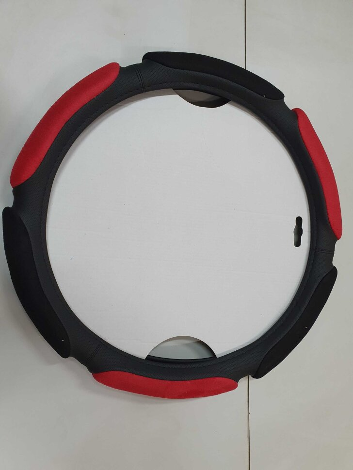 Оплетка на руль 44-46см широкая, красный спонж