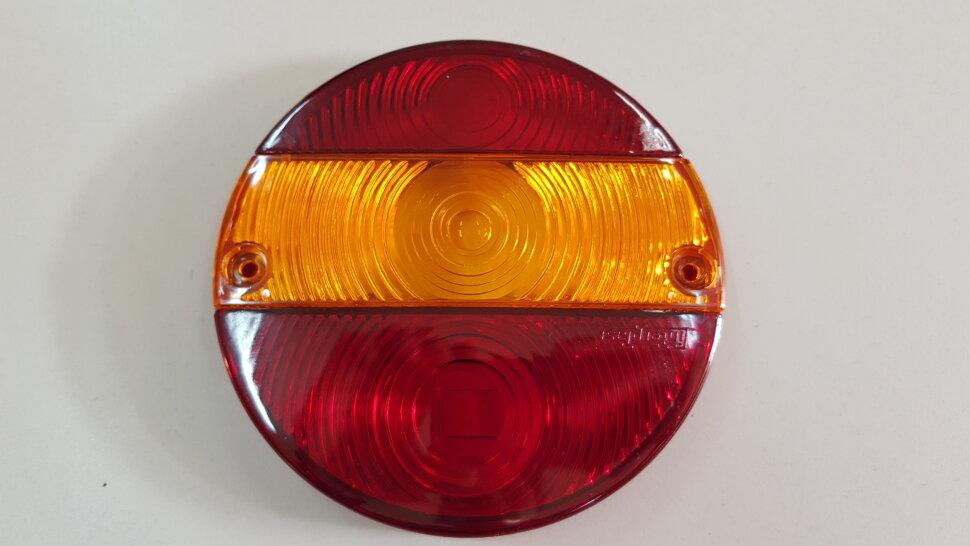 Стекло заднего фонаря 3-секционное круглое со смещенным поворотником