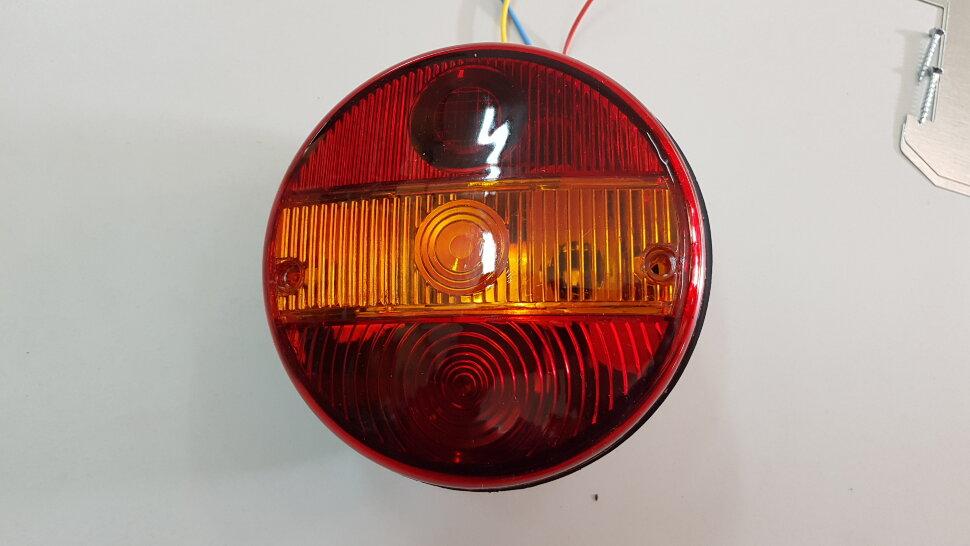 Фонарь задний 3-секционный круглый правый тонированный
