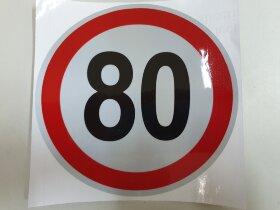 Наклейка ограничение скорости 80