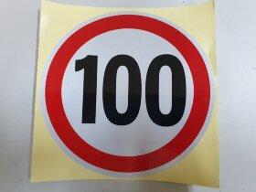 Наклейка ограничение скорости 100