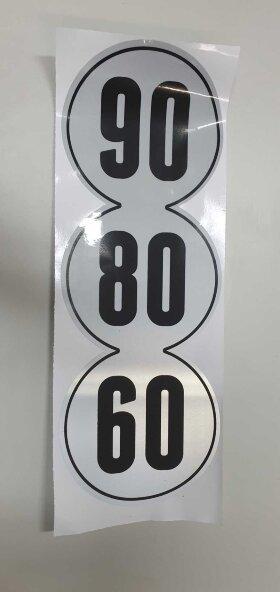 Наклейка ограничение скорости светоотражающая 60-80-90