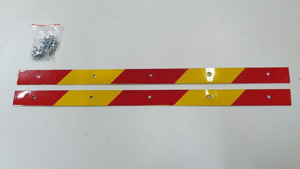Планка для крепления брызговика светоотражающая 520x30 комплект 2шт желтая полоска