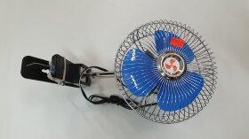 Вентилятор в кабину на прищепке с метал. решеткой d=150 12V