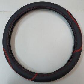 Оплетка на руль 44-46см широкая, красная вышивка