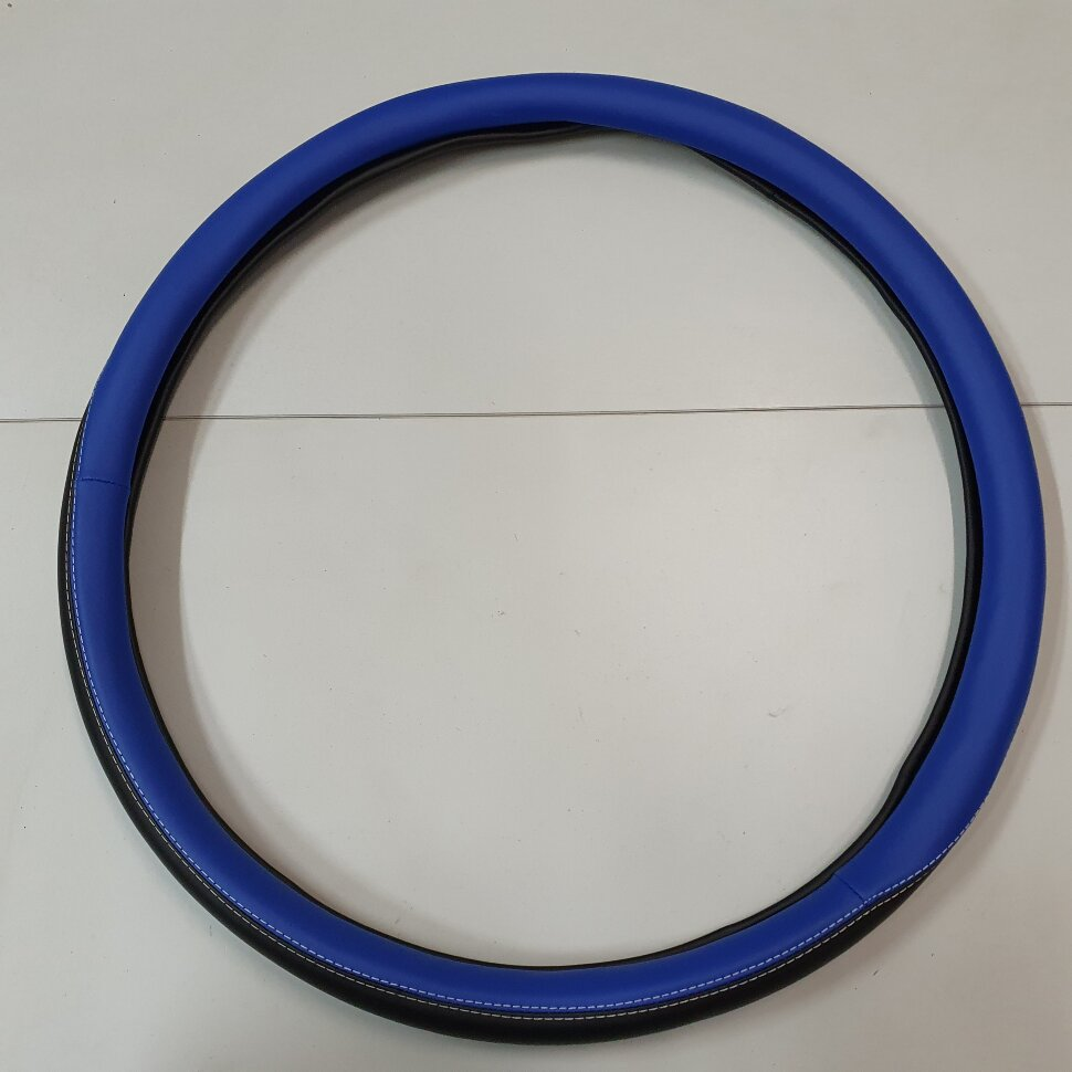 Оплетка на руль 49-51см МАЗ, КАМАЗ черно-синяя