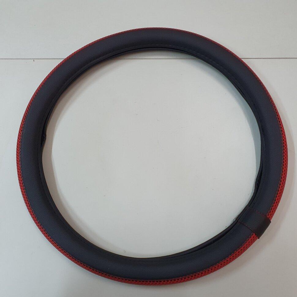 Оплетка на руль 44-46см широкая, красная